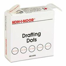 Adhesive Drafting Dots with Dispenser, 500/Box