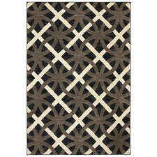 Panache Bungee Cord Chain Letter Black/ Gray Area Rug