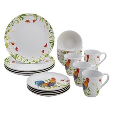 Meadow Rooster Stoneware 16 Piece Dinnerware Set