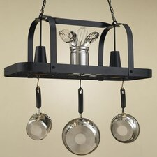 Baker Rectangular Hanging Pot Rack with 2 Lights