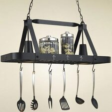 Fleur de Lis Rectangular Hanging Pot Rack with 2 Lights