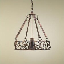 Authentic Iron Circular Hanging Pot Rack with Light