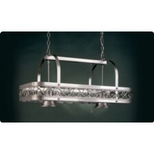 Odysee Rectangular Hanging Pot Rack with 2 Lights