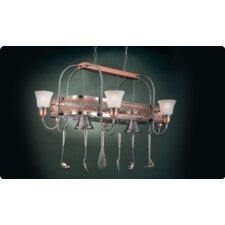Odysee Rectangular Hanging Pot Rack with 8 Lights