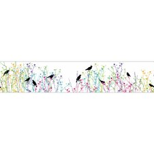 "Birdsong 15' x 9"" Floral and Botanical Border Wallpaper"