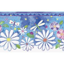 """Whimsical Children's Vol. 1 Groovy 15' x 8.25"""" Floral and Botanical Border Wallpaper"""