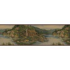 """Lodge Décor 15' x 8.75"""" Cabin Scenic Border Wallpaper"""