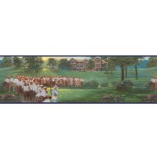 "Lodge Décor 15' x 9"" Vintage Golf Scenic Border Wallpaper"