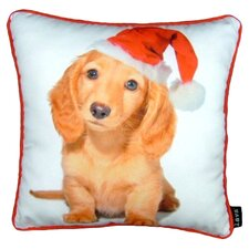 Holiday Blond Daschund Throw Pillow