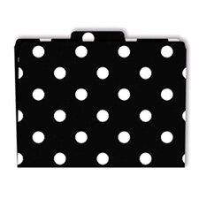 File Folders Black & White Dots