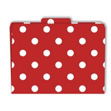 File Folders Red & White Dots