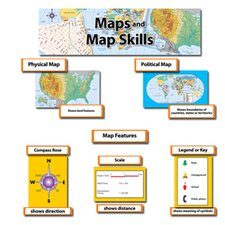 40 Piece Maps and Map Skills Mini Bulletin Board Cut Out Set