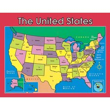 Us Map Laminated Chartlet 17x22 (Set of 2)