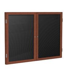 2-Door Wood Frame Enclosed Flannel Letter Board
