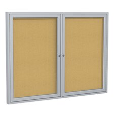2 Door Aluminum Frame Enclosed Natural Cork Bulletin Board