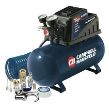 3 Gallon Horizontal Tank Air Compressor with 10 Piece Accessory Kit