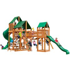 Treasure Trove with Amber Posts and Canopy Cedar Swing Set