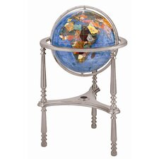 "13"" Ambassador Marine Blue Globe with Three Leg High Stand in Silver"