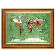 Gemstone Globe Map with Opalite Ocean Framed Graphic Art