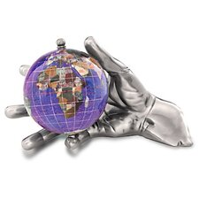 Gemstone Globe with Opalite Ocean Embraced and World in Your Hand Figurine