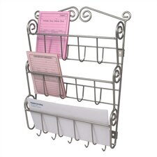 Scroll Wall Mount Letter Holder in Satin Nickel