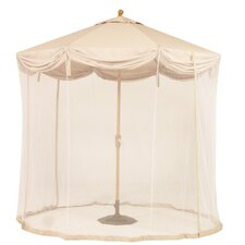 9' LED Light Scallop Market Umbrella with Netting