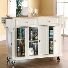 Crosley Kitchen Cart with Wood Top