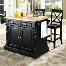 Oxford Kitchen Island Set with Butcher Block Top
