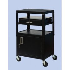 Wide Body Adjustable Equipment TV Cart with Cabinet
