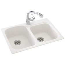 "Everyday Essentials 33"" x 22"" Double Bowl Kitchen Sink"