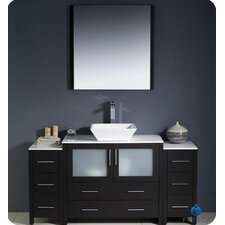 "Torino 60"" Single Modern Bathroom Vanity Set with Mirror"