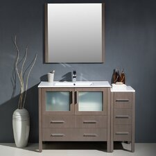 "Torino 48"" Single Modern Bathroom Vanity Set with Mirror"
