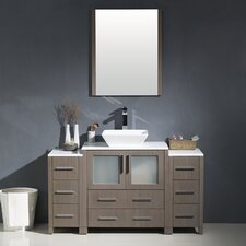 "Torino 54"" Single Modern Bathroom Vanity Set with Mirror"