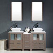"Torino 60"" Double Modern Bathroom Vanity Set with Mirror"