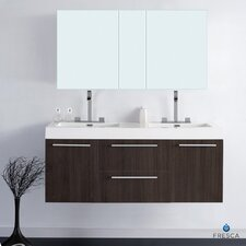 "Senza 54"" Double Opulento Modern Bathroom Vanity Set"
