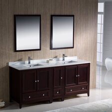 """Oxford 72"""" Double Traditional Bathroom Vanity Set with Mirror"""