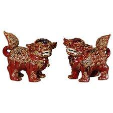 Foo Dogs, Flambe Red Pair Figurine (Set of 30)