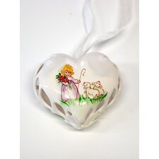 Hand Painted Porcelain Heart Ornament