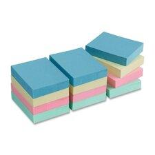 "Adhesive Notes,Plain,1-1/2""x2"",100 Sheets per Pad,12 Pads per Pack,Pastel"