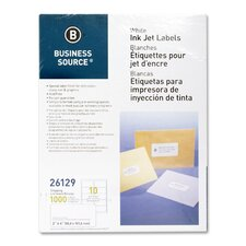 """Mailing Labels, Shipping, Inkjet, 2""""x4"""", 1000 per Pack, White"""