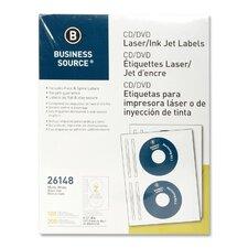 CD/DVD Labels, Laser/Inkjet, 100 per Pack, White (Set of 2)