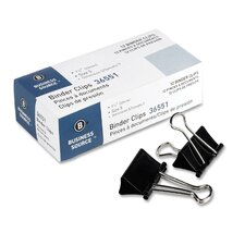 "Binder Clip, Medium, 1-1/4""W, 5/8"" Capacity, Black (Set of 6)"