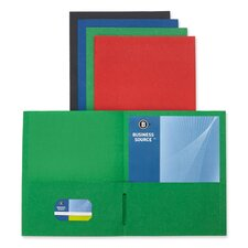 "2-Pocket Folders, 125 Sh. Cap., 11""x8-1/2"", 25 per Box, Assorted"
