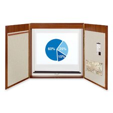 4-in-1 Presentation Conference Enclosed Magnetic Bulletin Board, 4' x 4'