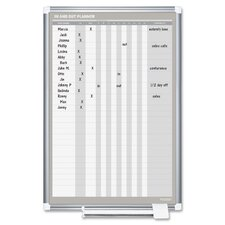 In/Out Wall Mounted Planner Whiteboard, 3' x 2'