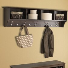 "60"" Hanging Entryway 9 Hook Storage Shelf"
