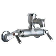 Wall Mounted Service Sink Faucet with Vacuum Breaker and Double Lever Handle