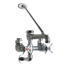 Manual Garage Faucet with Body Support Plate and Double Cross Handle