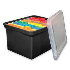 "File Tote, 14-1/8""x18""x10-13/16"", Black w/ Clear Lid"