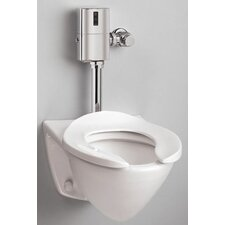 Commercial Wall Mount Flushometer 1.28 GPF Elongated Toilet Bowl Only with Top Spud